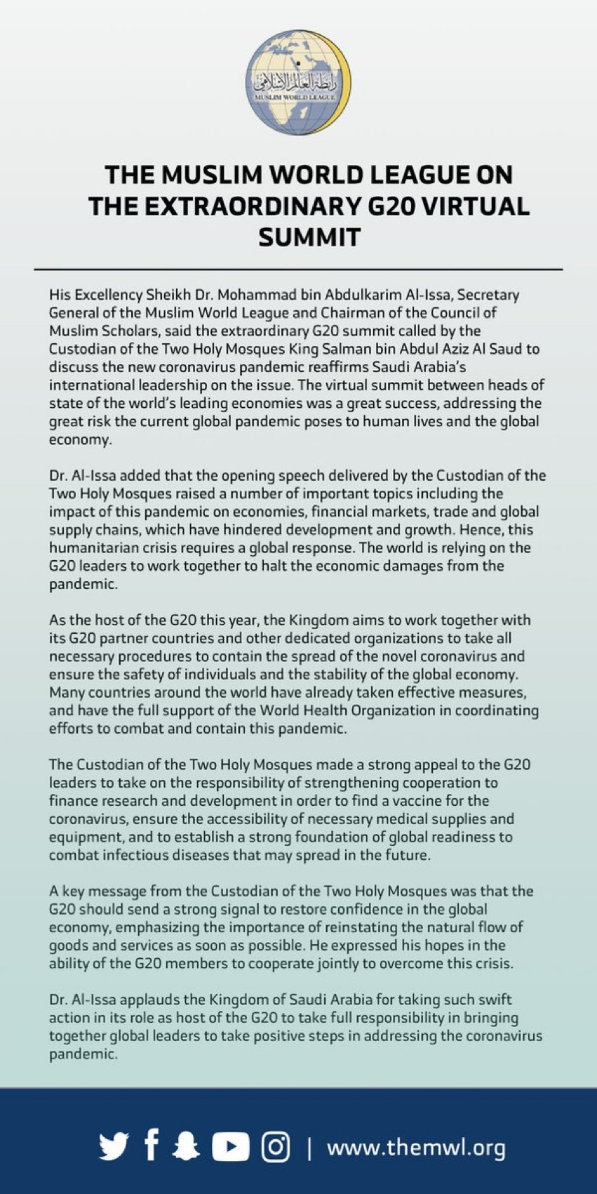 HE Dr. Mohammad Alissa shares the Muslim World League's support for the G20 Virtual Summit