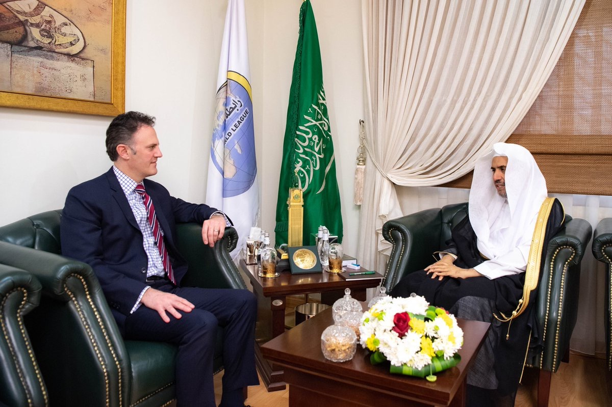 HE the SG of the MWL receives at his office in Riyadh Mr. Nathan Sales, the U.S. Coordinator for Counterterrorism