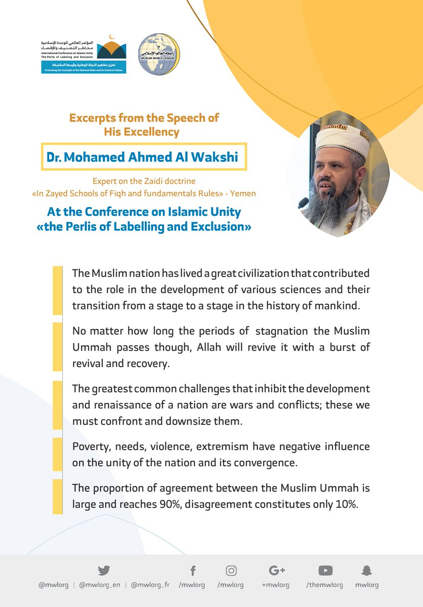 HE Dr. Mohamed Al Wakshi addresses 1200 Islamic Figures from 127 Countries representing 28 Islamic Components at the MWL conference on Islamic Unity