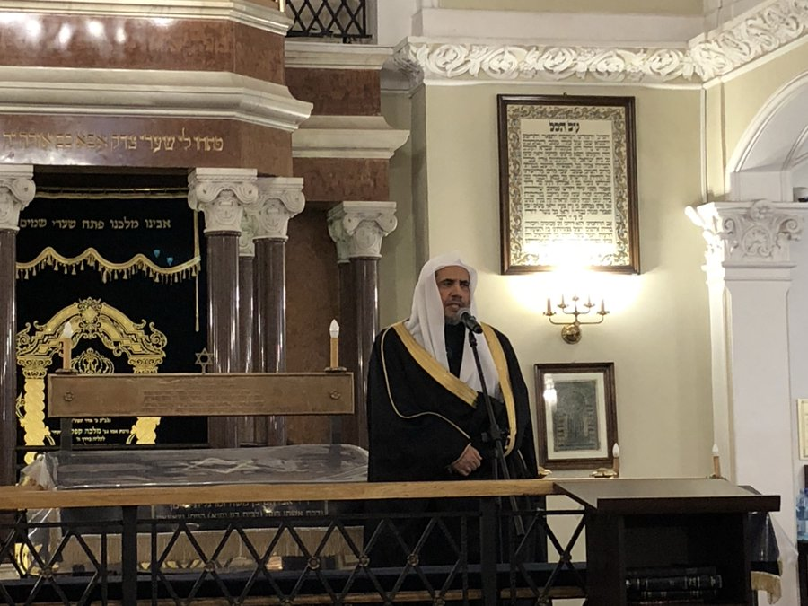HE Dr. Mohammad Alissa addresses Kabbalat Shabbat service at Nożyk Synagogue
