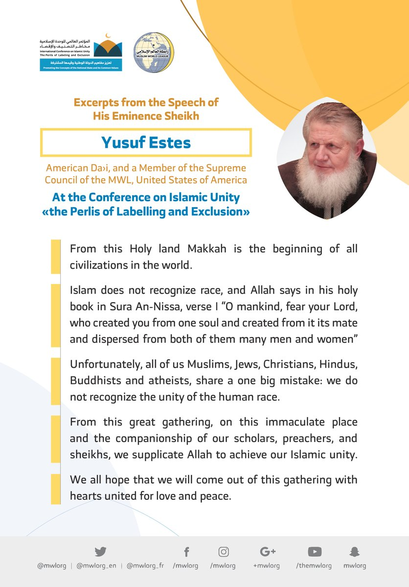 HE Sheikh Yusuf Estes addresses 1200 Islamic Figures from 127 Countries representing 28 Islamic Components at the MWL conference on Islamic Unity