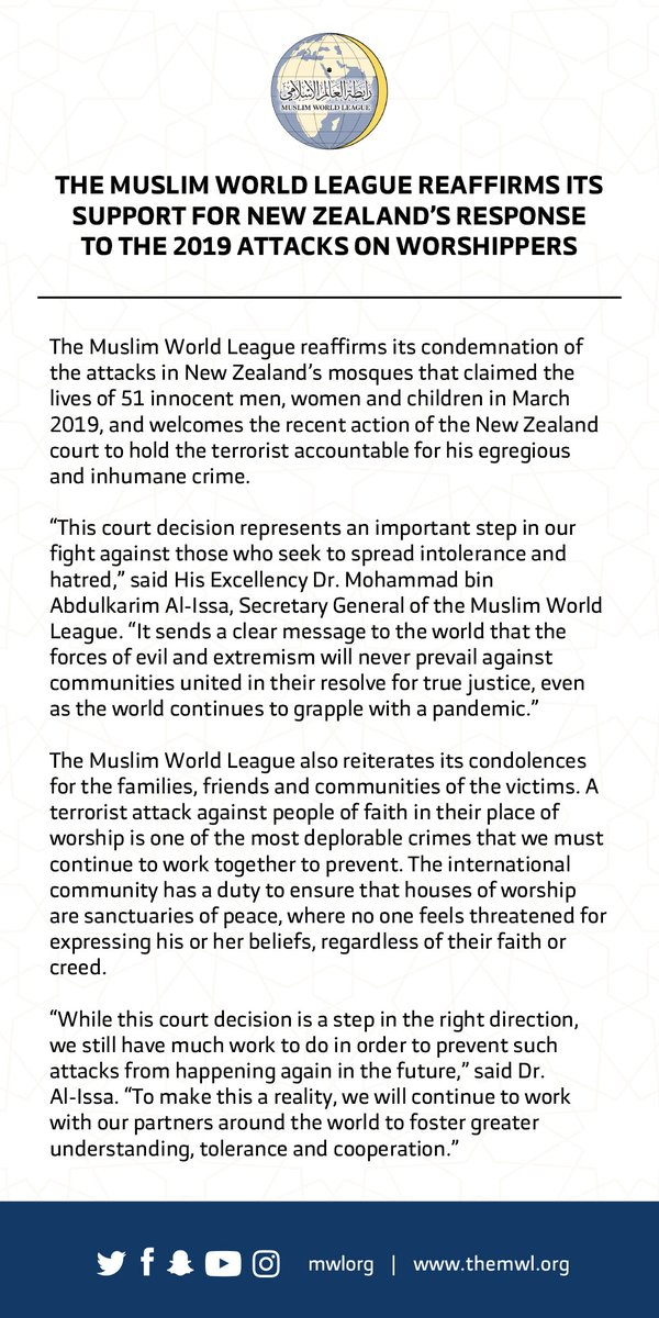The Muslim World League reaffirms its support for New Zealand's response to the 2019 Christchurch attack on worshippers