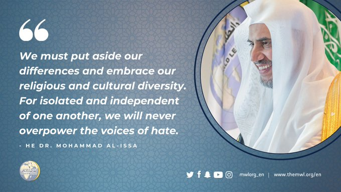 We must put aside our differences and embrace our religious and cultural diversity