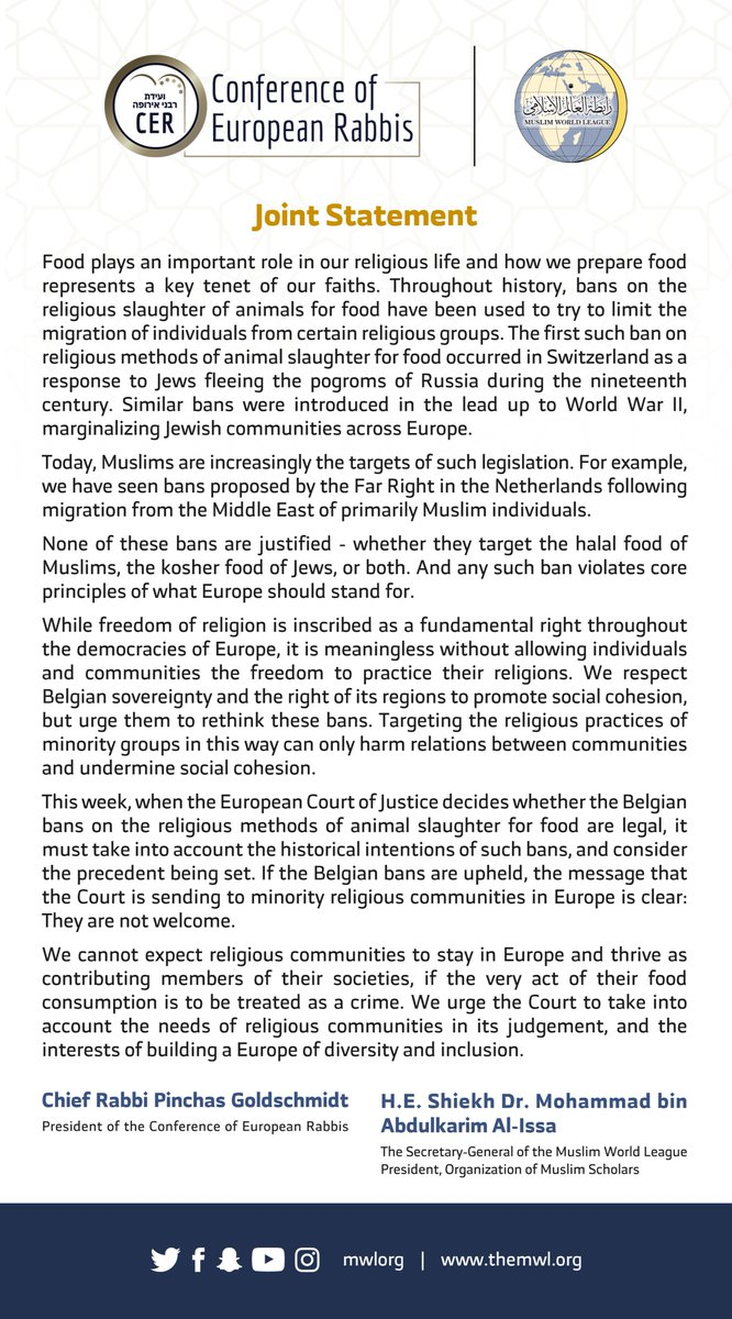 A joint statement today from the Muslim World League & europeanrabbis