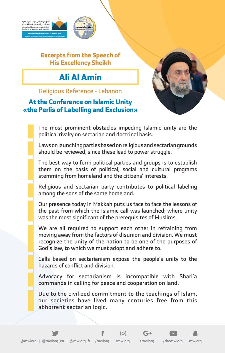HE Sayed Ali Al-Amin, addresses 1200 Islamic figures from 127 countries & 28 Islamic components at the MWL conference on Islamic Unity