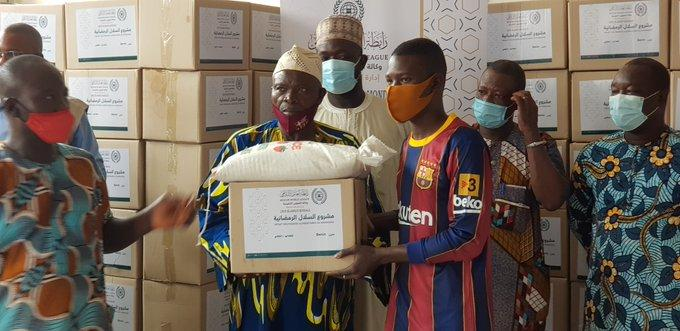 The Muslim World Leauge distributed food baskets to people in Benin