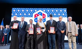 HE Dr. Mohammad Alissa stood with prominent Muslim, Jewish and Christian leaders to sign a historic MOU, pledging to continue meaningful interfaith dialogue