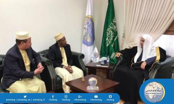 HE the MWL received in his office in Riyadh HE the VP of the Comoros Islands and discussed the MWL's support for the Comoros Islands.