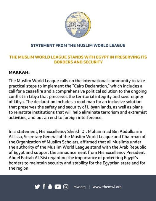 The Muslim World League supports the Cairo Declaration and stands with Egypt in preserving its borders and security