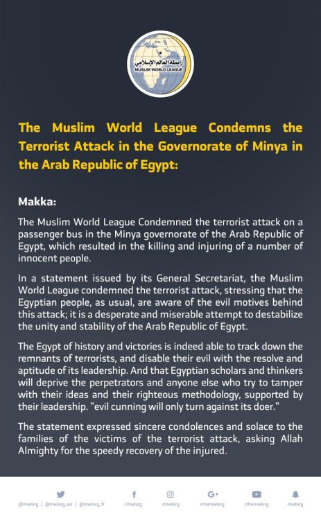 The MWL condemns the terrorist attack in the governorate of Minya in the Arab Republic of Egypt