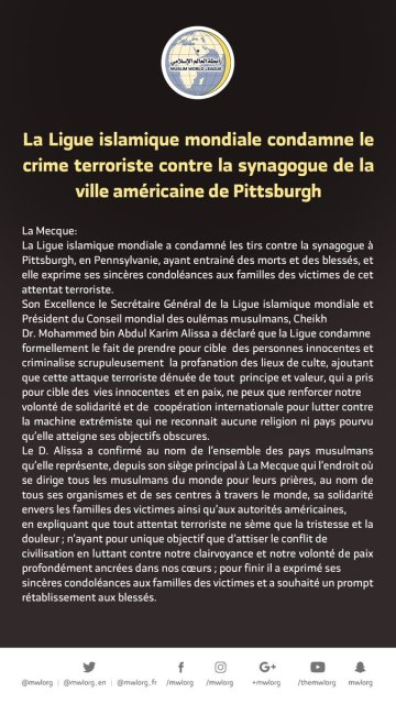 La L.I.M. condamne l'agression terroriste contre la synagogue à Pittsburgh en Amérique: